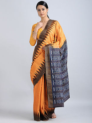 Orange-Blue Handwoven Sambalpuri Ikat Tussar Ghicha Silk Saree