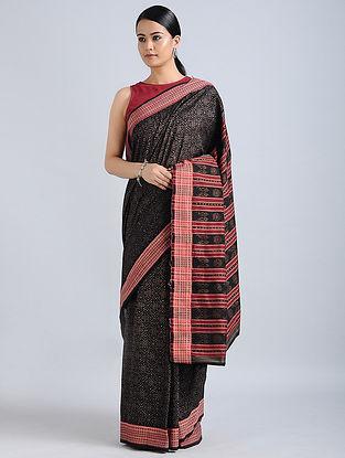 Black Handwoven Sambalpuri Ikat Cotton Saree
