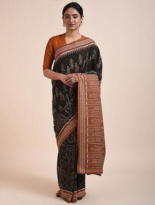 Black-Brown Handwoven Sambalpuri Ikat Cotton Saree