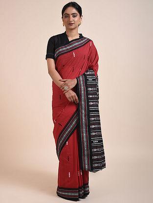 Red-Black Handwoven Sambalpuri Ikat Cotton Saree