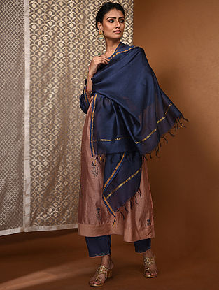 Blue Chanderi Dupatta with Zari Border