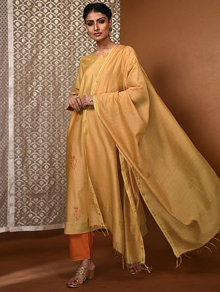 Yellow Chanderi Dupatta with Zari Border