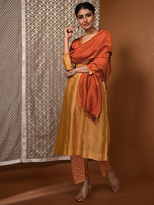Orange Chanderi Dupatta with Zari Border