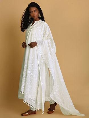 KAMINI - White Khari-printed Cotton Dupatta with Tassels