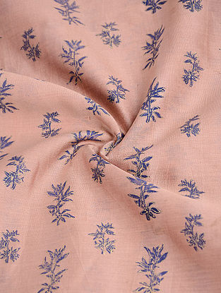 Pink Block-printed Silk-Cotton Fabric with Khadi