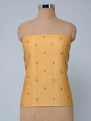Yellow Block-printed Silk-Cotton Fabric with Khadi