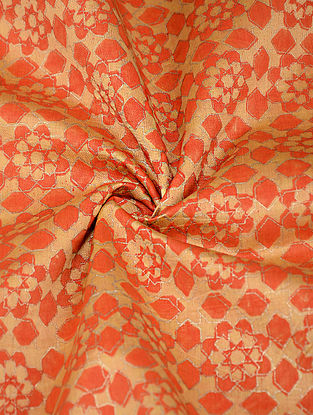 Yellow-Orange Block-printed Silk-Cotton Fabric with Khadi