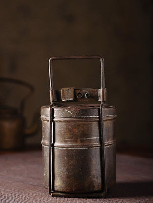 Vintage Brass Lunch Box with Two Parts (L:4.5in, W:4.5in, H:8.5in)