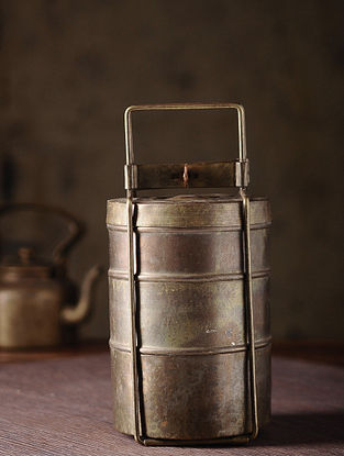 Vintage Brass Lunch Box with Three Parts (L:4.6in, W:4.6in, H:10in)