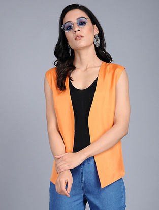 Orange Habutai Silk Shrug