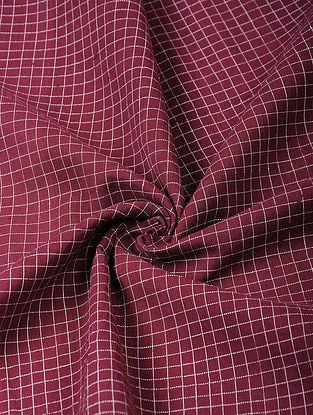 Maroon Handloom Cotton Fabric