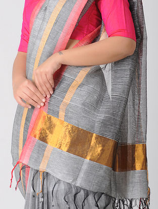 Grey Cotton Linen Saree with Zari