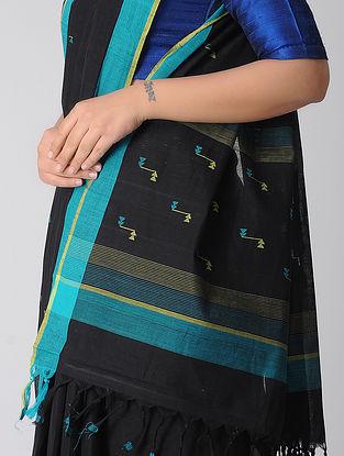 Black-Blue Jamdani Khadi Cotton Saree