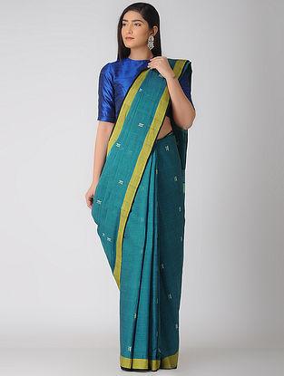 Blue-Yellow Jamdani Khadi Cotton Saree