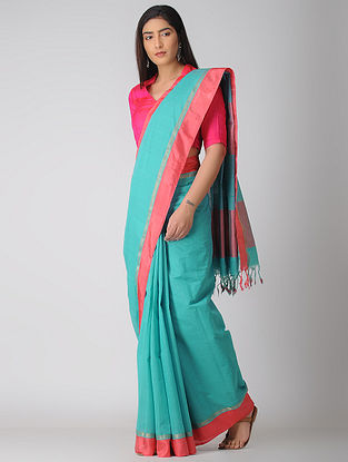 Blue-Pink Kuppadam Cotton Saree with Zari Border
