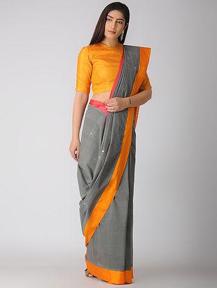 Grey-Orange Kuppadam Cotton Saree