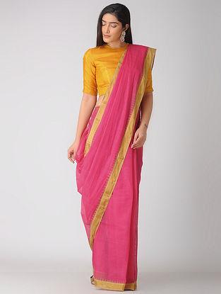 Pink Kuppadam Khadi Cotton Saree with Zari Border