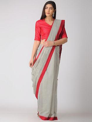 Grey-Red Kuppadam Khadi Cotton Saree