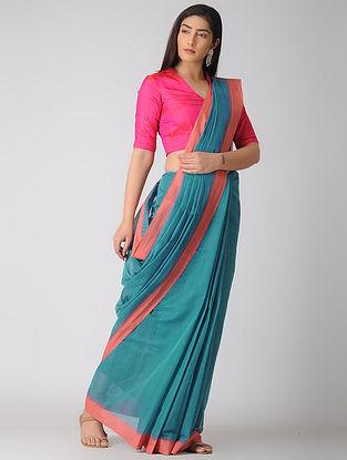 Blue-Peach Kuppadam Khadi Cotton Saree