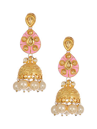 Pink Enameled Gold Tone Handcrafted Jhumki Earrings with Pearls