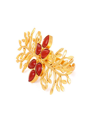 Red Gold Tone Handcrafted Adjustable Ring
