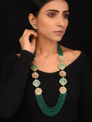 Green Blue Enameled Gold Tone Necklace with Earrings (Set of 2)