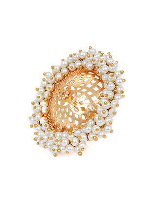 Gold Tone Adjustable Ring with Pearls