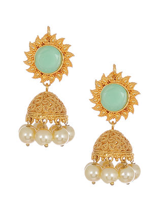 Turquoise Gold Tone Handcrafted Earrings with Pearls