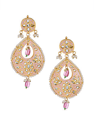 Pink Enameled Gold Tone Handcrafted Earrings