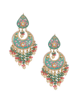 Pink Blue Enameled Gold Tone Handcrafted Earrings with Pearls