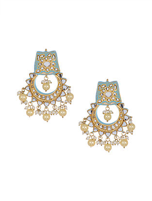 Blue Enameled Gold Tone Handcrafted Earrings with Pearls