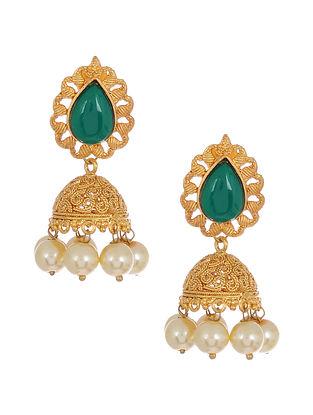 Green Gold Tone Handcrafted Jhumki Earrings