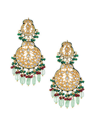 Green Gold Tone Kundan Earrings