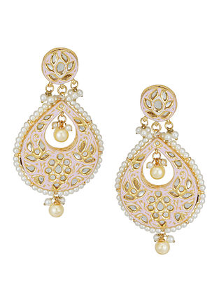 Pink Gold Tone Kundan Enameled Earrings with Pearls
