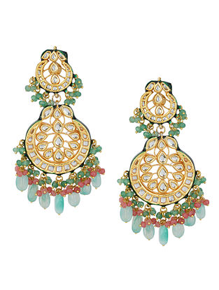 Green Blue Gold Tone Kundan Earrings