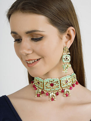 Blue Pink Gold Tone Kundan Enameled Necklace with Earrings