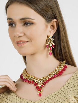 Pink Gold Tone Kundan Necklace with Earrings