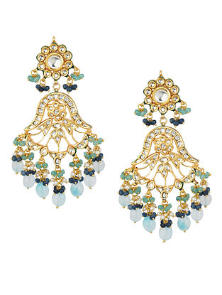 Blue Gold Tone Kundan Earrings