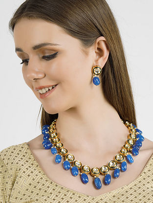 Blue Gold Tone Kundan Necklace with Earrings