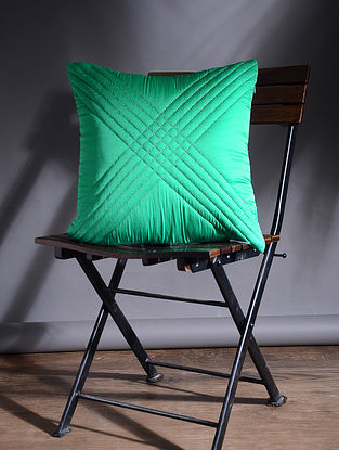 Green Quilted Polyester Silk Cushion Cover (15.5in x 15.5in)