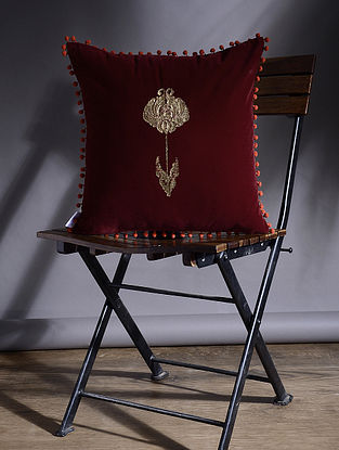 Maroon Hand Embroidered Velvet Cushion Cover (15.5in x 15.5in)