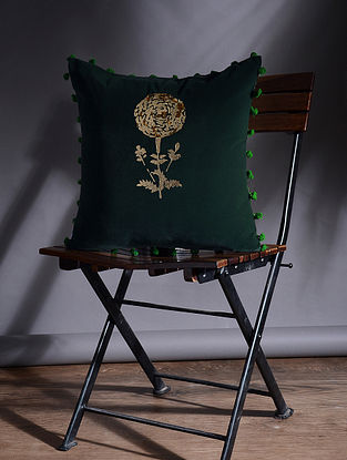 Green Hand Embroidered Velvet Cushion Cover (15.5in x 15.5in)