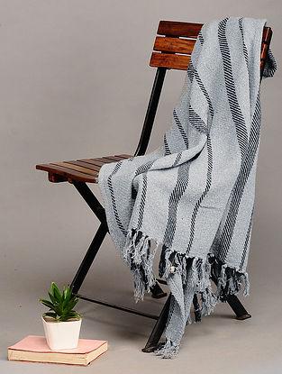 Grey Handloom Cotton Throw (58in x 47.5in)