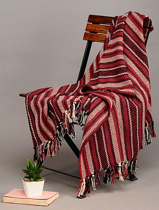 Red Handloom Cotton Throw (60in x 48in)