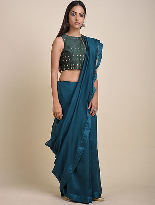 Teal Mirror Work Chanderi Sari with Bottle Green Blouse (Set of 2)