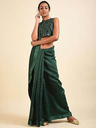 Bottle Green Chanderi Sari with Bottle Green Mirror Work Crop Top (Set of 2)