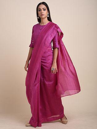 Pink Chanderi Sari with Mirror Work Crop Top (Set of 2)