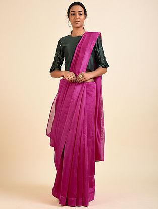 Pink Chanderi Sari with Bottle Green Mirror Work Crop Top (Set of 2)