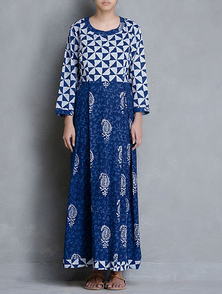 Indigo Dabu Printed Mandarin Collar Cotton Dress