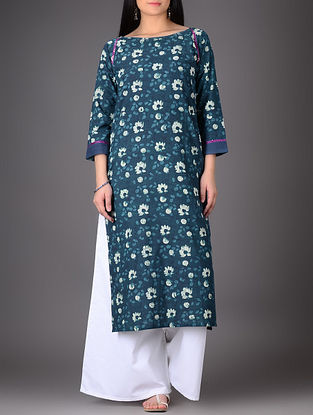 Indigo-Ivory Natural-dyed Boat Neck Cotton Kurta